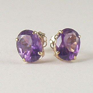 Purple violet amethyst stud post earrings 6x8mm oval 14k yellow gold semi-precious stone jewelry