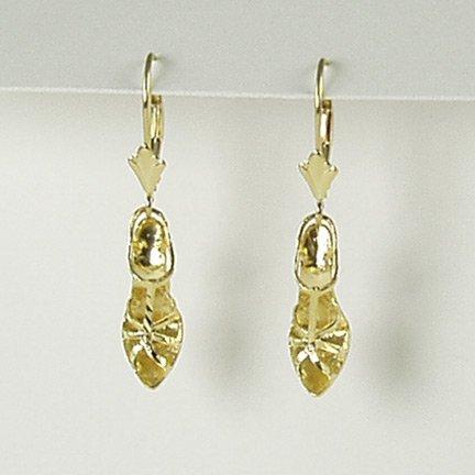 Women sandal pump high heel shoe t-strap stiletto lever back earrings 14K yellow gold jewelry
