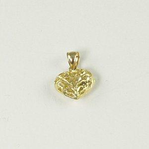 Open filigree heart pendant puffy 14K yellow gold jewelry women sweetheart Valentine