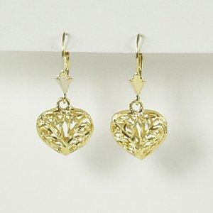 Open filigree heart earrings lever back dangle puffy 14K yellow gold jewelry women Valentine