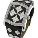 JLO Studded Crystal Black Dial Leather Watch