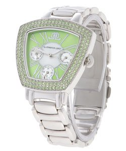 JLO Trapezoid Lime Dial Crystal Bracelet Watch