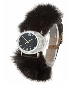 "JLO Black Dial ""Mink"" Crystal Oval Watch"