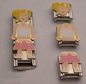 3 PC LAUREN DOLL ITALIAN CHARM GIRL CHICK MIX & MATCH