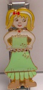 4 PIECE AMBER DOLL ITALIAN CHARM GIRL CHICK MIX & MATCH