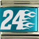 #24 RACING & FLAMES COLOR LASER ITALIAN CHARM/CHARMS