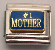 #1 MOTHER BLUE & GOLD ITALIAN CHARM/CHARMS FOR ZOPPINI