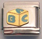 ABC BABY BLOCK BLUE & GOLD ITALIAN CHARM/CHARMS