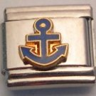 ANCHOR BOAT SHIP BLUE & GOLD ITALIAN CHARM/CHARMS