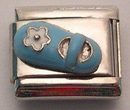 BABY SHOE BLUE & WHITE 3D ITALIAN CHARM/CHARMS CHILD