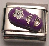 BABY SHOE PURPLE & WHITE 3D ITALIAN CHARM/CHARMS CHILD