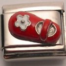 BABY SHOE RED & WHITE 3D ITALIAN CHARM/CHARMS CHILD
