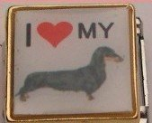 I LOVE DACHSHUND DOG PUPPY ITALIAN CHARM/CHARMS