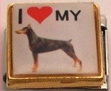 I LOVE DOBERMAN PINSCHER DOG PUPPY ITALIAN CHARM/CHARMS