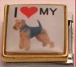 I LOVE MY AIRDALE DOG ITALIAN CHARM/CHARMS PICTURE