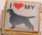 I LOVE MY GORDEN SETTER DOG PUPPY ITALIAN CHARM/CHARMS