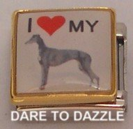 I LOVE MY GREYHOUND DOG PUPPY ITALIAN CHARM/CHARMS