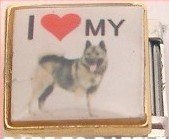 I LOVE MY NORWEGIAN ELKHOUND DOG ITALIAN CHARM/CHARMS
