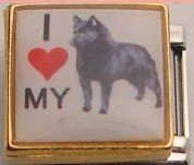 I LOVE MY SCHIPPERKE DOG ITALIAN CHARM/CHARMS PICTURE