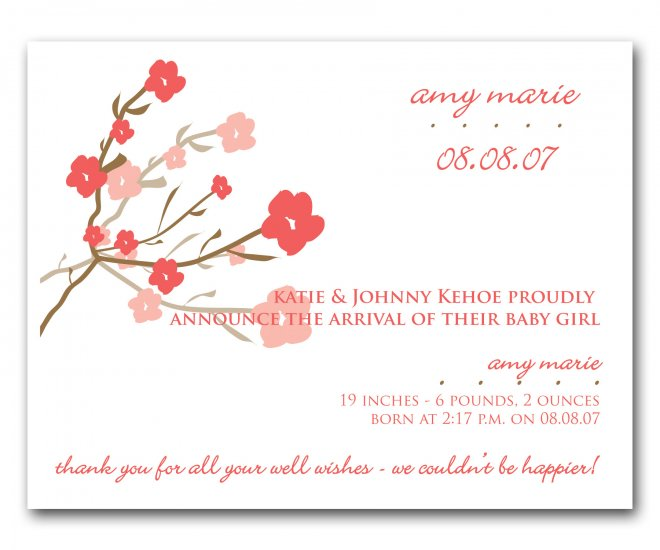 Baby Birth Boy or Girl Birth Announcements Announcement Flat Panel Cards