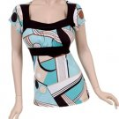 NEW Aqua & Black Mod Print Top Blouse w/Empire Waist Junior Plus 3X