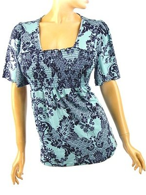 Beautiful Blue Toile Print Babydoll Top Plus Size 1X (14/16)