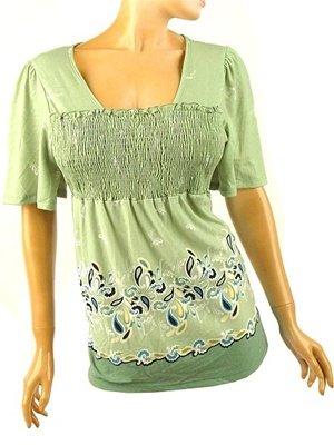 Lime Green Border Print Babydoll Top Plus Size 1X (14/16)
