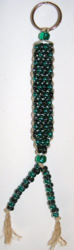 Beaded Key Chain- Aqua & Gray #KC0030