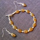 Bracelet & Earing Set- Browns & Silver #BES011