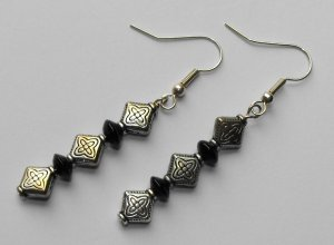 Antiqued black earrings #E0040