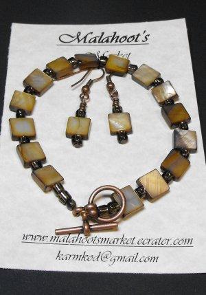 Bracelet & Earing Set- Browns & Copper  #BES010