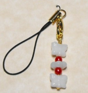 White & Red Cell Phone Charm #Cell0058