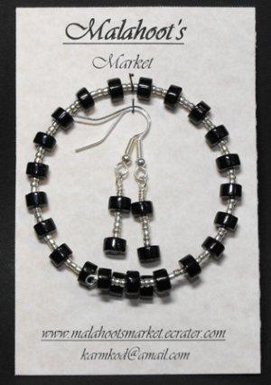 Bracelet & Earing Set- Black & Silver  #BES0042