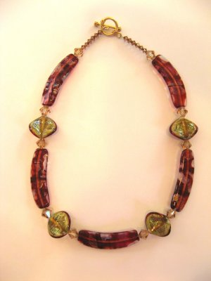 Red Art Glass Necklace