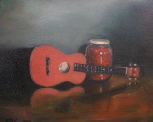 Ukulele and Cherries Original oil painting