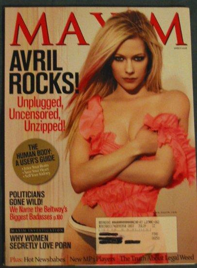 Maxim Magazine Avril Lavigne Cover March 2008 Issue