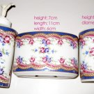 Antique blue floral design bath set