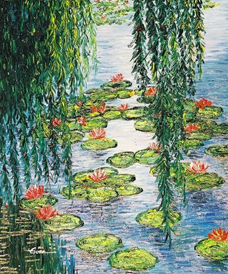 oil painting - Pond water lily
