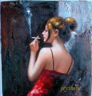 original painting : smoke  girl