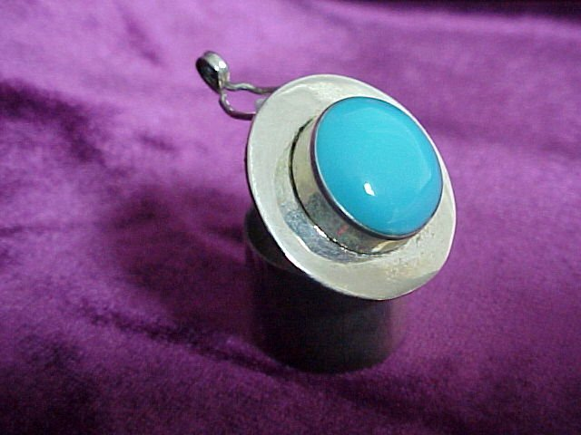 Silver - Turquoise Pill - Snuff Box
