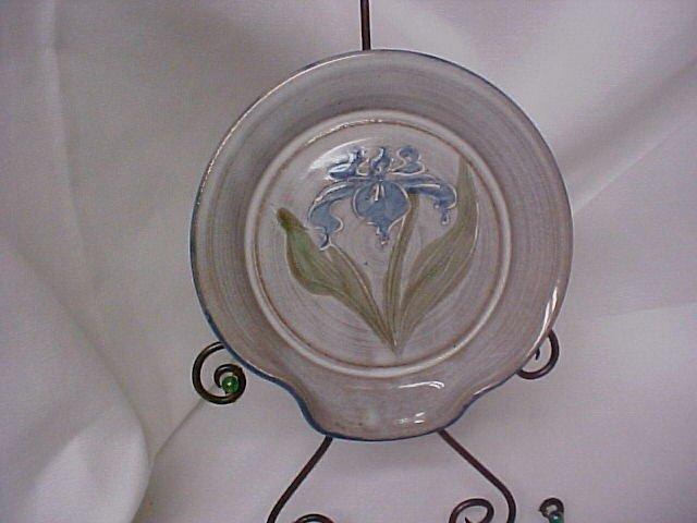 Blue Pottery Irises Spoon Rest