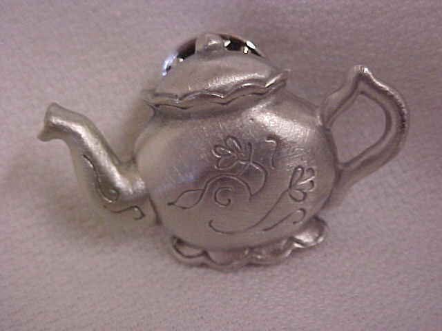 Antique Teapot  Pewter Pin