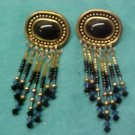 VINTAGE BRASS BEAD CHANDELIER EARRINGS