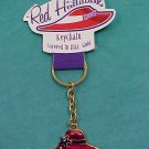 RED HATTITUDE KEYCHAIN...LAYERED IN 18 KT. GOLD