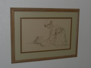 NAVAJO GIRL Signed Drawing by Larry Duff