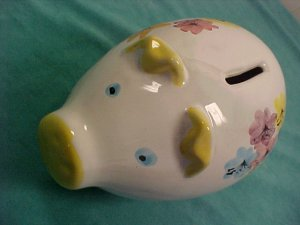 "ITALIAN CERAMIC PIGGY BANK W/ STOPPER 8"" LONG"