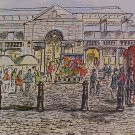 Entrance to the Piazza Covent Garden Signed Watercolor
