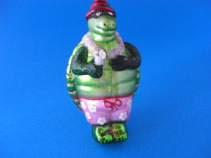 Mr Turtle Beach Blown Glass Christmas Ornament