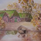 A House By The Lake Signed Watercolor