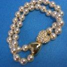 Joan Rivers Strand Faux Pearl Rhinestone Heart Bracelet